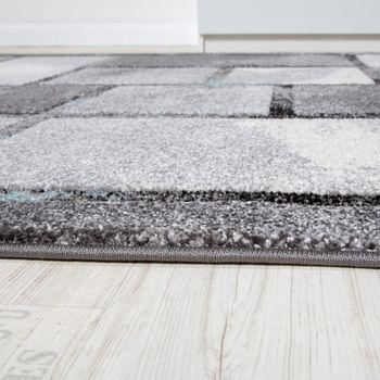 Edler Designer Teppich Hochtief-Effekt Kurzflor Karo Grau Türkis AUSVERKAUF – Bild 2