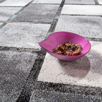 Edler Designer Teppich Hochtief-Effekt Kurzflor Karo Grau Türkis AUSVERKAUF – Bild 3