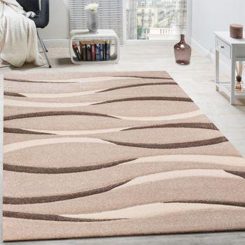 Teppich Modern Wohnzimmer Kurzflor Wellen Design Beige Creme Braun AUSVERKAUF – Bild 1