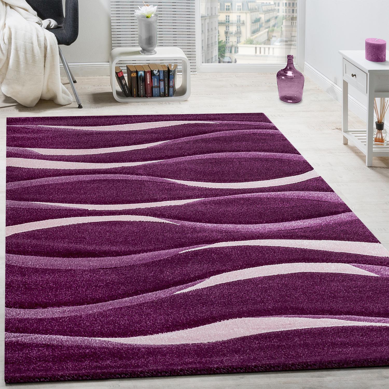 Teppich Modern Wohnzimmer Kurzflor Wellen Design Weiß Lila AUSVERKAUF