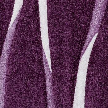 Teppich Modern Wohnzimmer Kurzflor Wellen Design Weiß Lila AUSVERKAUF – Bild 3
