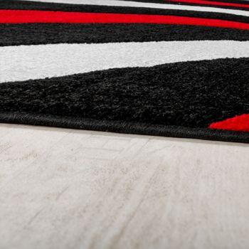 Teppich Modern Wohnzimmer Kurzflor Wellen Design Weiß Rot Schwarz AUSVERKAUF – Bild 2