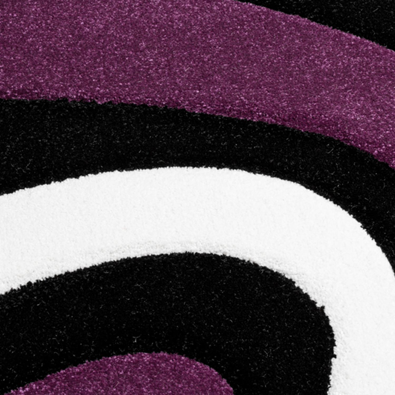 teppich modern wohnzimmer kurzflor wellen design wei lila schwarz ausverkauf restposten. Black Bedroom Furniture Sets. Home Design Ideas