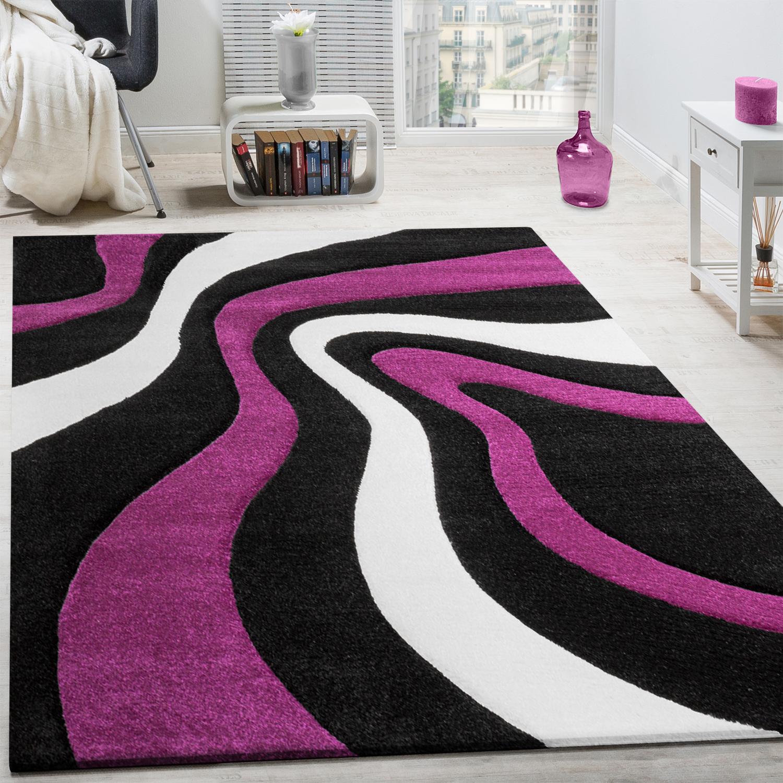 GroBartig Teppich Modern Wohnzimmer Kurzflor Wellen Design Weiß Lila Schwarz  AUSVERKAUF