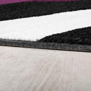 Teppich Modern Wohnzimmer Kurzflor Wellen Design Weiß Lila Schwarz AUSVERKAUF – Bild 2