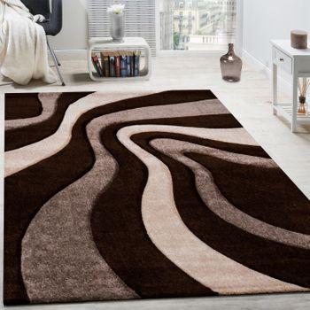 Teppich Modern Wohnzimmer Kurzflor Wellen Design Braun Töne Beige  AUSVERKAUF – Bild 1