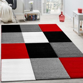 Rug Modern Living Room Short Pile Checked Design Red Black Grey CLEARANCE SALE – Bild 1
