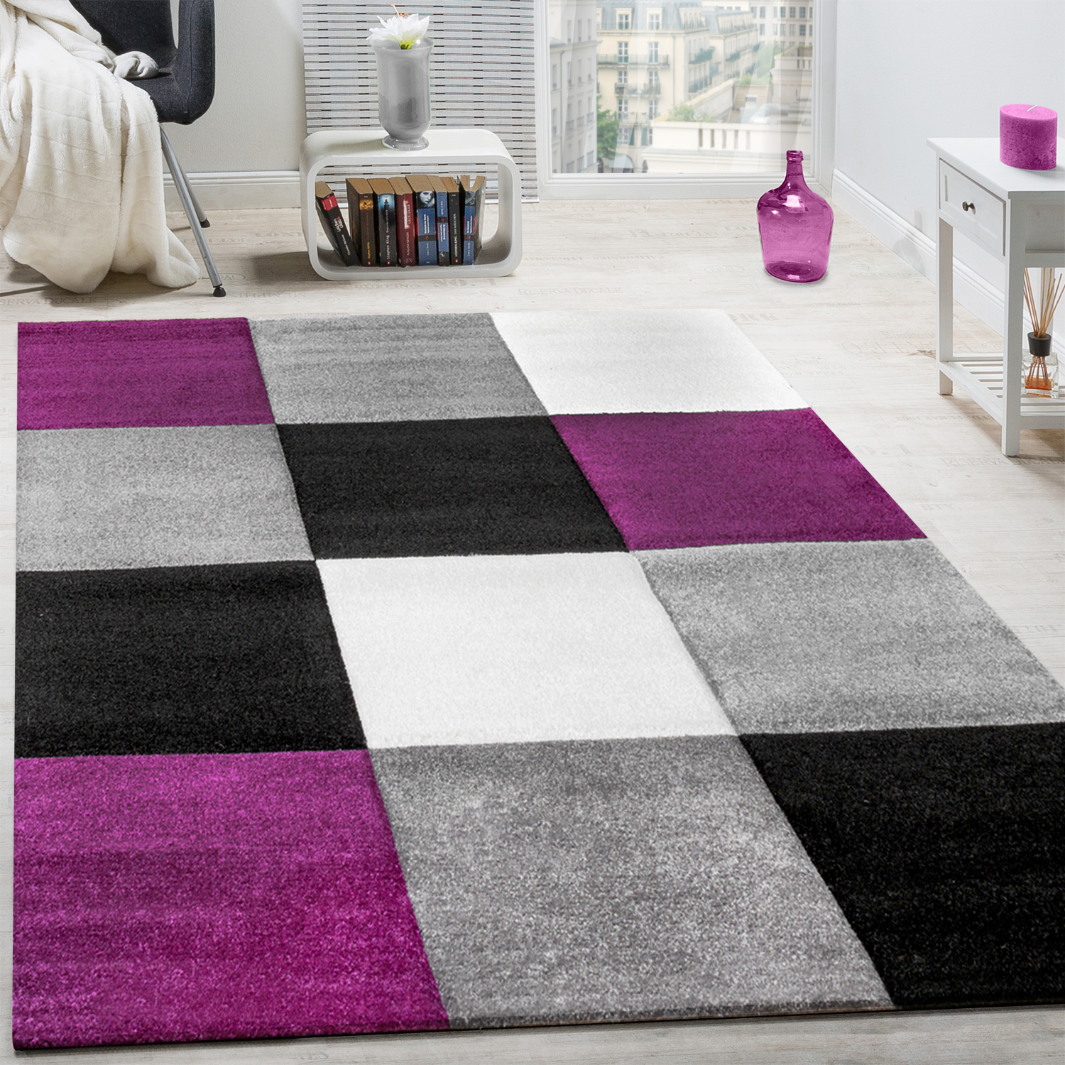 Rug Modern Living Room Short Pile Checked Design Purple Black Grey  CLEARANCE SALE