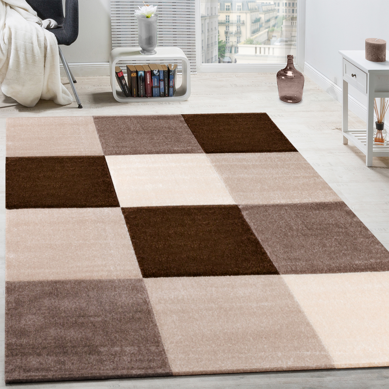tapis moderne salon poils ras carreaux design brun beige cr me soldes stock restant. Black Bedroom Furniture Sets. Home Design Ideas