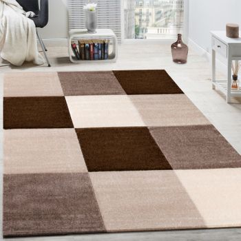 Rug Modern Living Room Short Pile Checked Design Brown Beige Cream CLEARANCE SALE – Bild 1