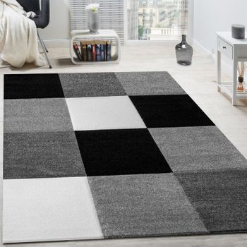 Rug Modern Living Room Short Pile Checked Design Grey Black White CLEARANCE SALE – Bild 1