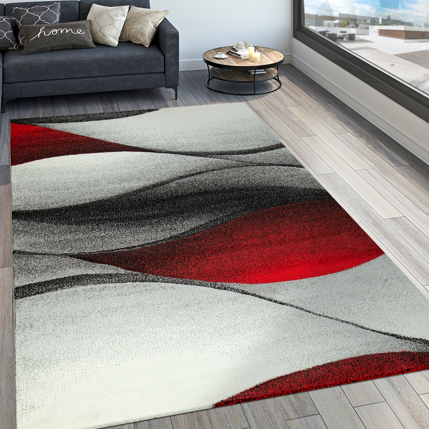 tapis abstrait vagues effet rouge tapis24. Black Bedroom Furniture Sets. Home Design Ideas