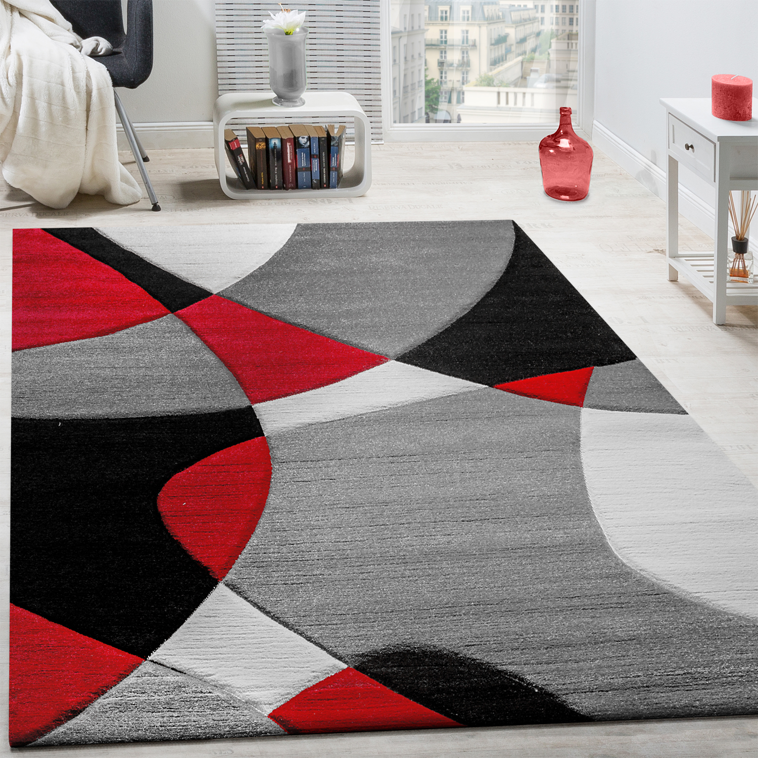 cr ateur tapis moderne g om trique motif d coupe des contours en rouge noir gris tapis tapis. Black Bedroom Furniture Sets. Home Design Ideas