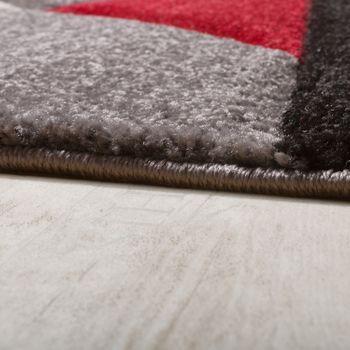 Designer Teppich Modern Geometrische Muster Konturenschnitt In Rot Schwarz Grau – Bild 2
