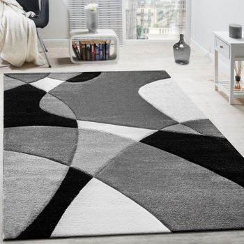 Rug Geometric Pattern Black White