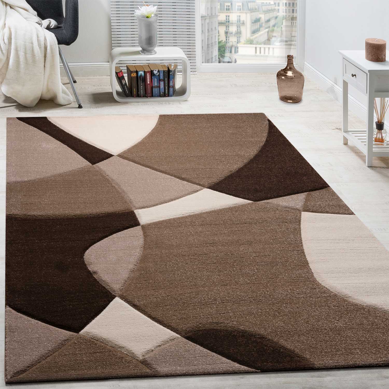 Entzuckend Designer Rug Modern Geometric Pattern Contour Cut In Brown Cream Beige