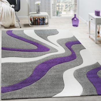 Rug Abstract Wave Design Purple