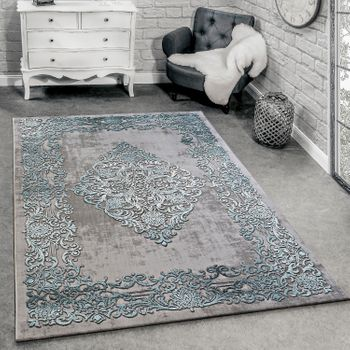 Designer Rug Modern Living Room Rugs 3D Baroque Pattern In Grey Turquoise Cream – Bild 1