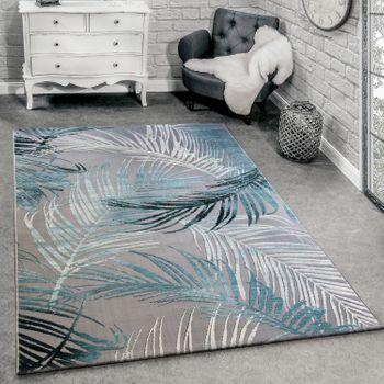 Designer Teppich 3D Palmen Türkis