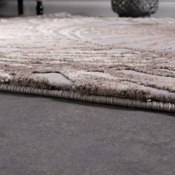 Designer Teppich Modern Wohnzimmer Teppiche 3D Palmen Muster In Grau Beige Creme – Bild 2