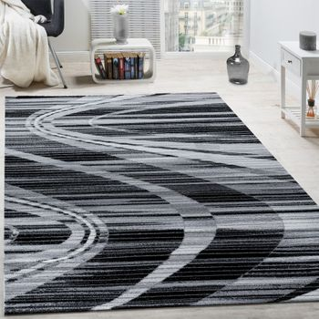 Elegant Designer Rug Curved Lines Short-pile Grey Cream Black Mottled SALE – Bild 1