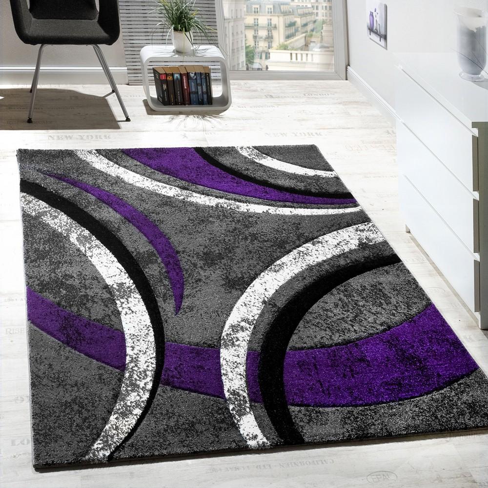 Designer Teppich Mit Konturenschnitt Muster Gestreift Lila Grau