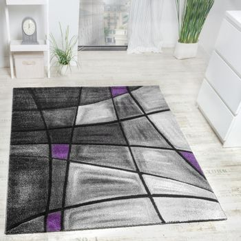 Designer Carpet Modern Rug Chequered Contour Cut Pattern In Grey Purple SALE – Bild 1