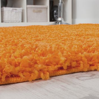 Shaggy High-Pile Rug Round Ø 67 One Colour Orange Top Offer at a Great Price  – Bild 2