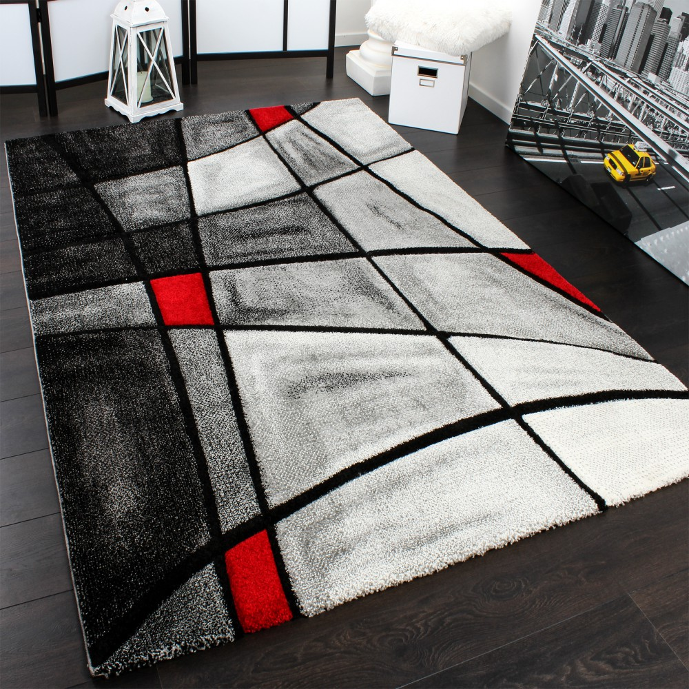 tapis moderne carreaux gris rouge liquidation tapis24. Black Bedroom Furniture Sets. Home Design Ideas