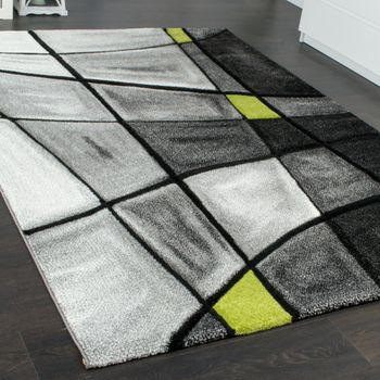Designer Carpet Modern Rug Chequered Contour Cut Pattern Grey Green SALE – Bild 2