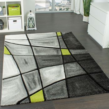 Designer Carpet Modern Rug Chequered Contour Cut Pattern Grey Green SALE – Bild 1