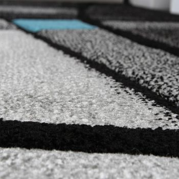 Designer Carpet Modern Rug Chequered Contour Cut Pattern Grey Turquise SALE – Bild 4