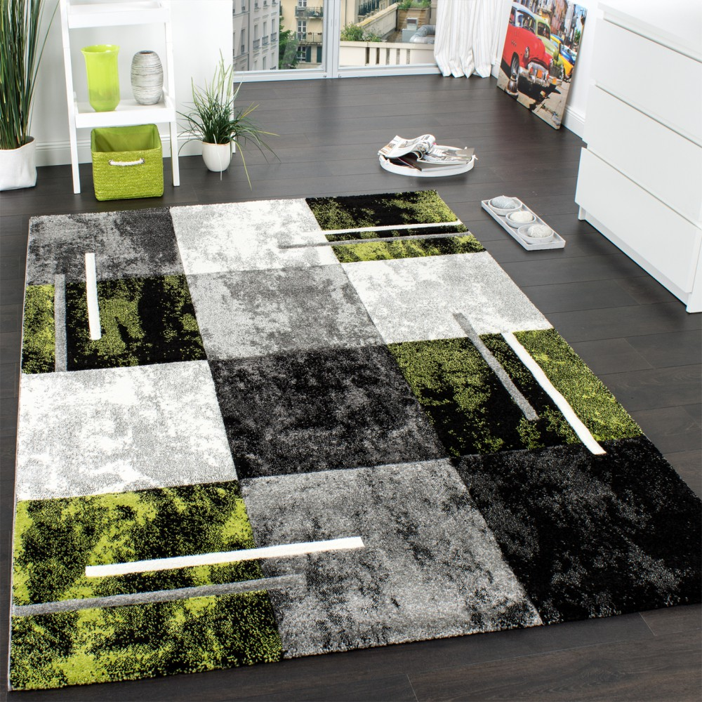 Designer Carpet  Modern With Contour Cut Chequered In Silver Green SALE