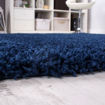 Shaggy High-Pile Rug Round Ø 67 One Colour Blue Top Offer at a Great Price  – Bild 2