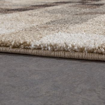 High-Quality Heavy Woven Rug Checked Mottled Cream Beige Brown Clearance Sale – Bild 2