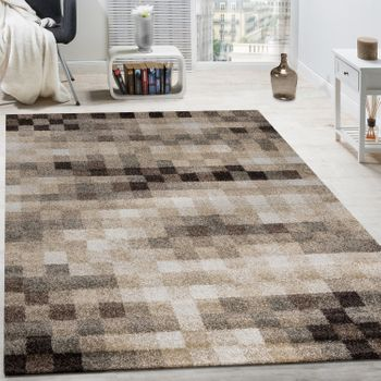 High-Quality Heavy Woven Rug Checked Mottled Cream Beige Brown Clearance Sale – Bild 1