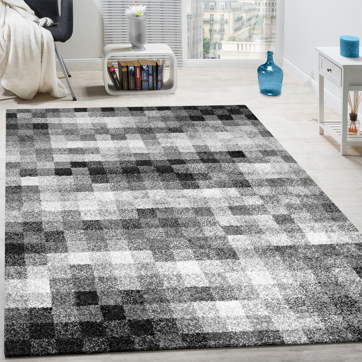 High-Quality Heavy Woven Rug Checked Mottled Black White Grey Clearance Sale