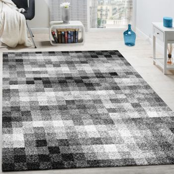 High-Quality Heavy Woven Rug Checked Mottled Black White Grey Clearance Sale – Bild 1
