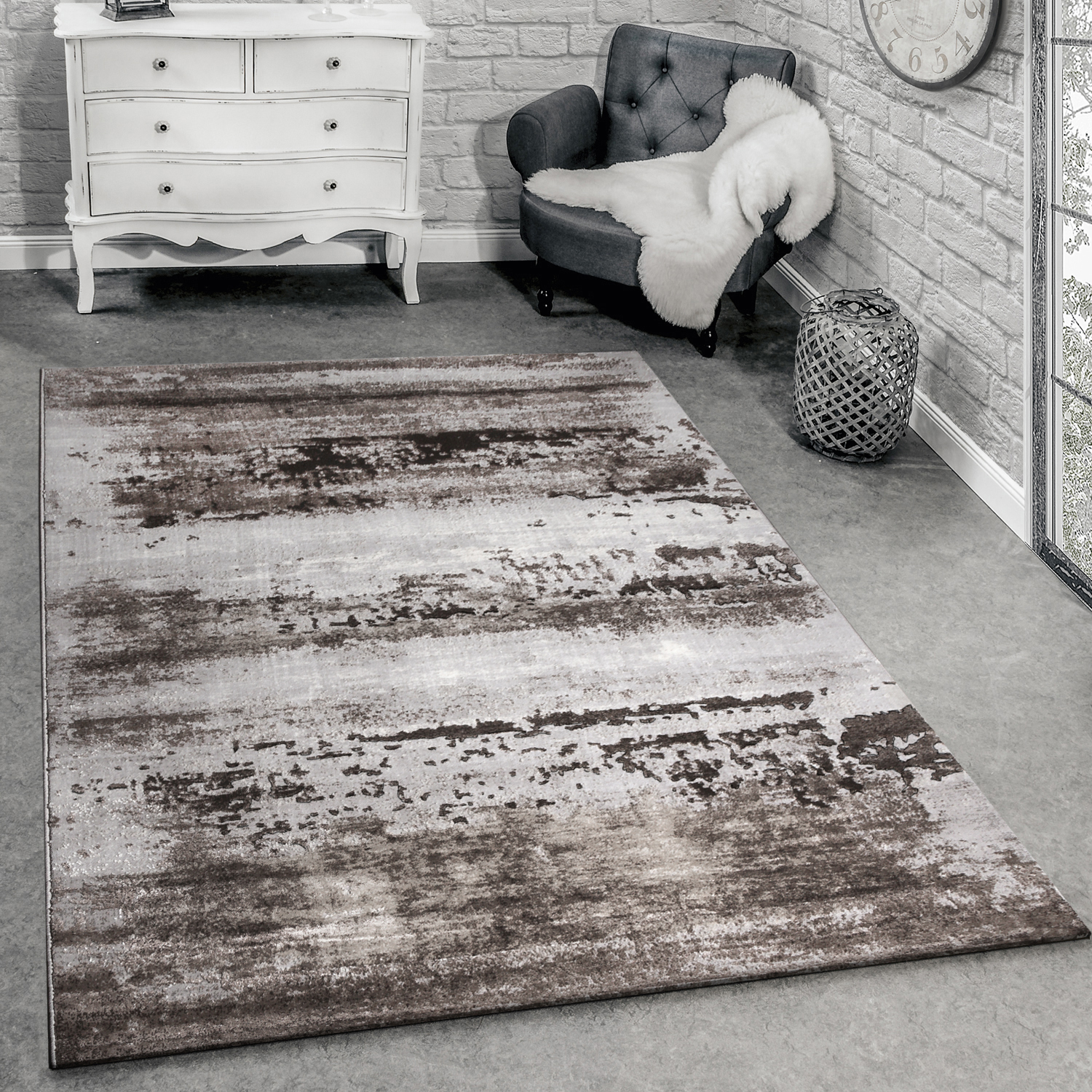 Designer Rug Living Room Rug 3D Shabby Chic Design In Brown Grey