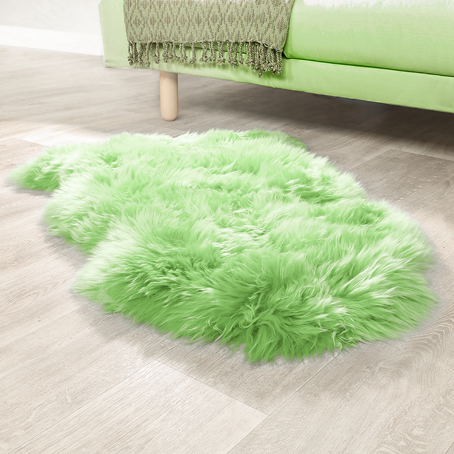 Australian Lambskin Natural Fur Bedside Rug Genuine Sheepskin In Apple Green