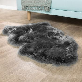 Australian Lambskin Natural Fur Bedside Rug Genuine Sheepskin In Anthracite Grey – Bild 1