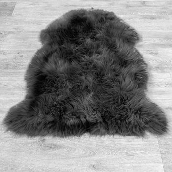 Australisches Lammfell Naturfell Bettvorleger Echtes Schaffell In Anthrazit Grau – Bild 4