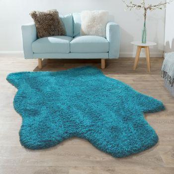 Deep Pile Rug XXL Faux Fur Flokati Turquoise