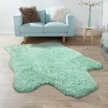 XXL Long Pile Rug Faux Fur Polar Bear Flokati Style Soft High-Quality Now In Green – Bild 1
