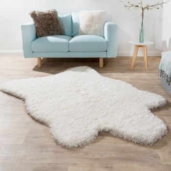 Fellteppich XXL Kunstfell Teppich Weiß