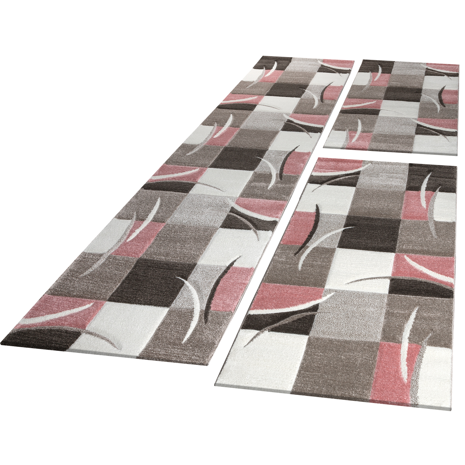 Bed Border Runners Rug Contour Cut Checked In Pink Beige Runner Set 3-Piece