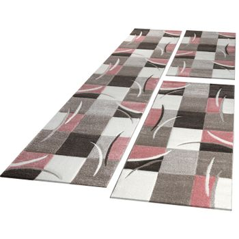 Ensemble Tapis De Couloir Carreaux Rose Beige Brun