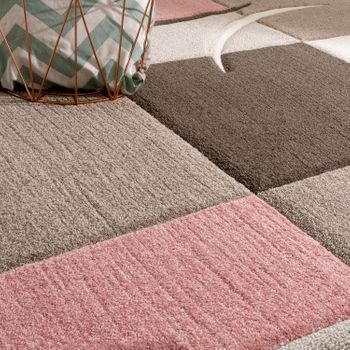 Bed Border Runners Rug Contour Cut Checked In Pink Beige Runner Set 3-Piece – Bild 3