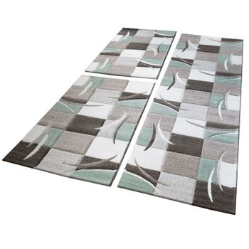 Bed Border Runner Rug Contour Cut Checked Pattern Green Runner Set 3-Piece – Bild 1