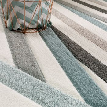 Bed Border Rug Contour Cut Striped Turquoise Cream Runner Set 3-piece – Bild 3